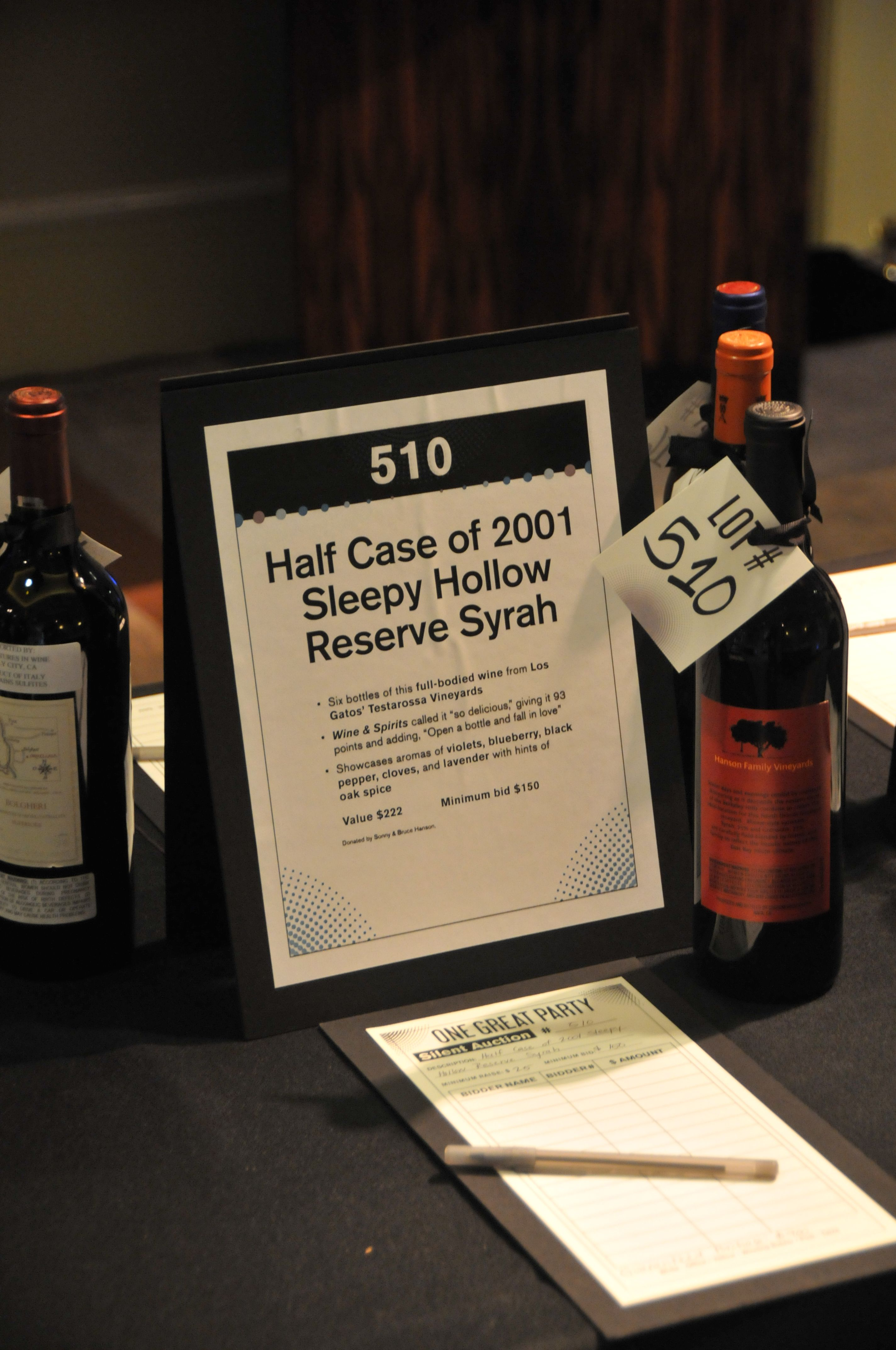 Silent Auction Display With Event Branding Elements