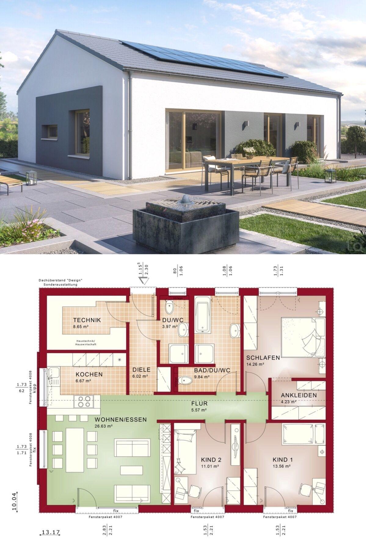 Bungalow Haus modern mit Satteldach Architektur & 4 Zimmer