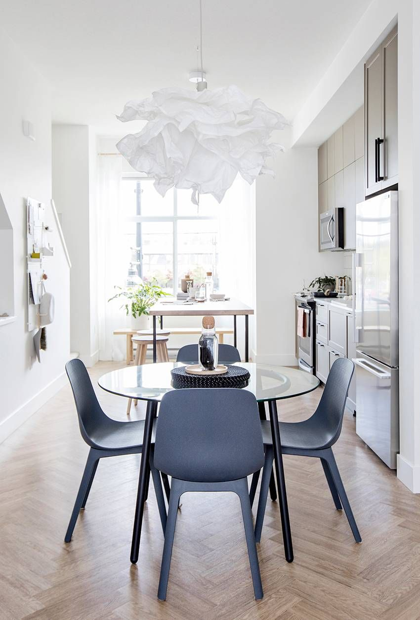 A Salmi Glass Table And Odger Dining Chairs Both From Ikea The Simple Chrome Dining Table Was Transformed Wit Ikea Dining Table Ikea Dining Ikea Dining Chair