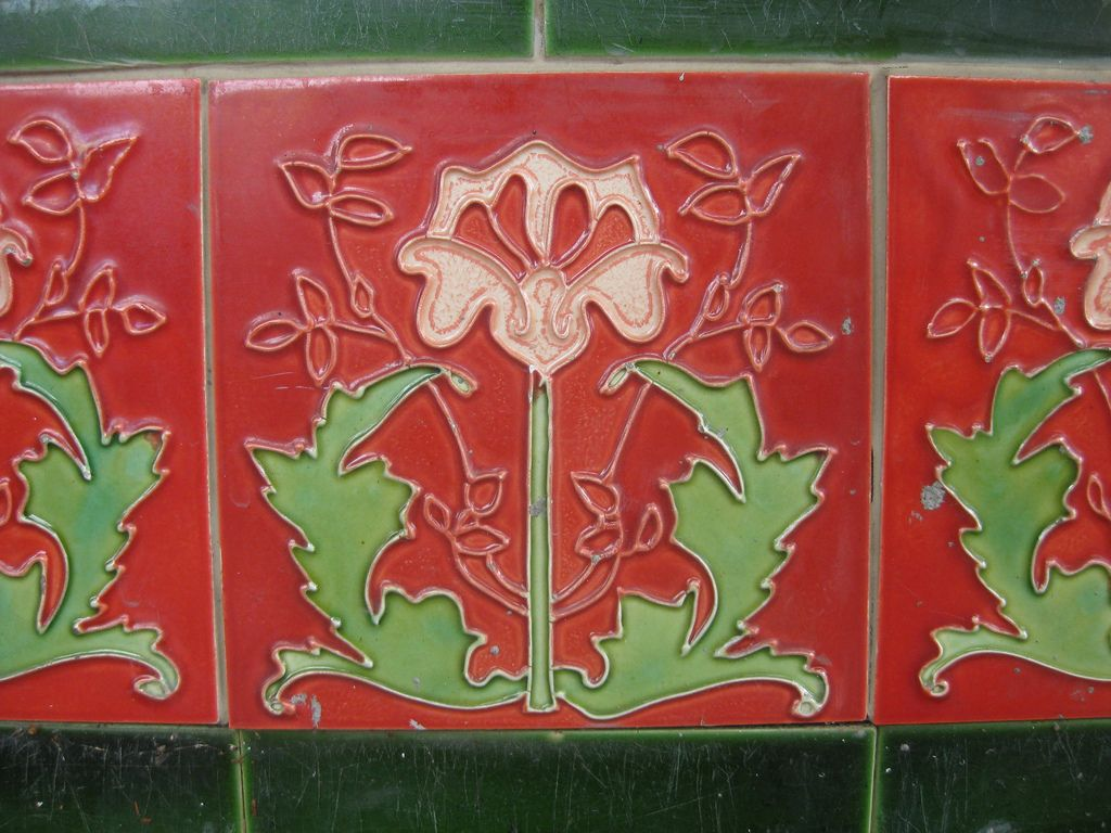 art nouveau tiles featuring pansies; the shamrock hotel - grant