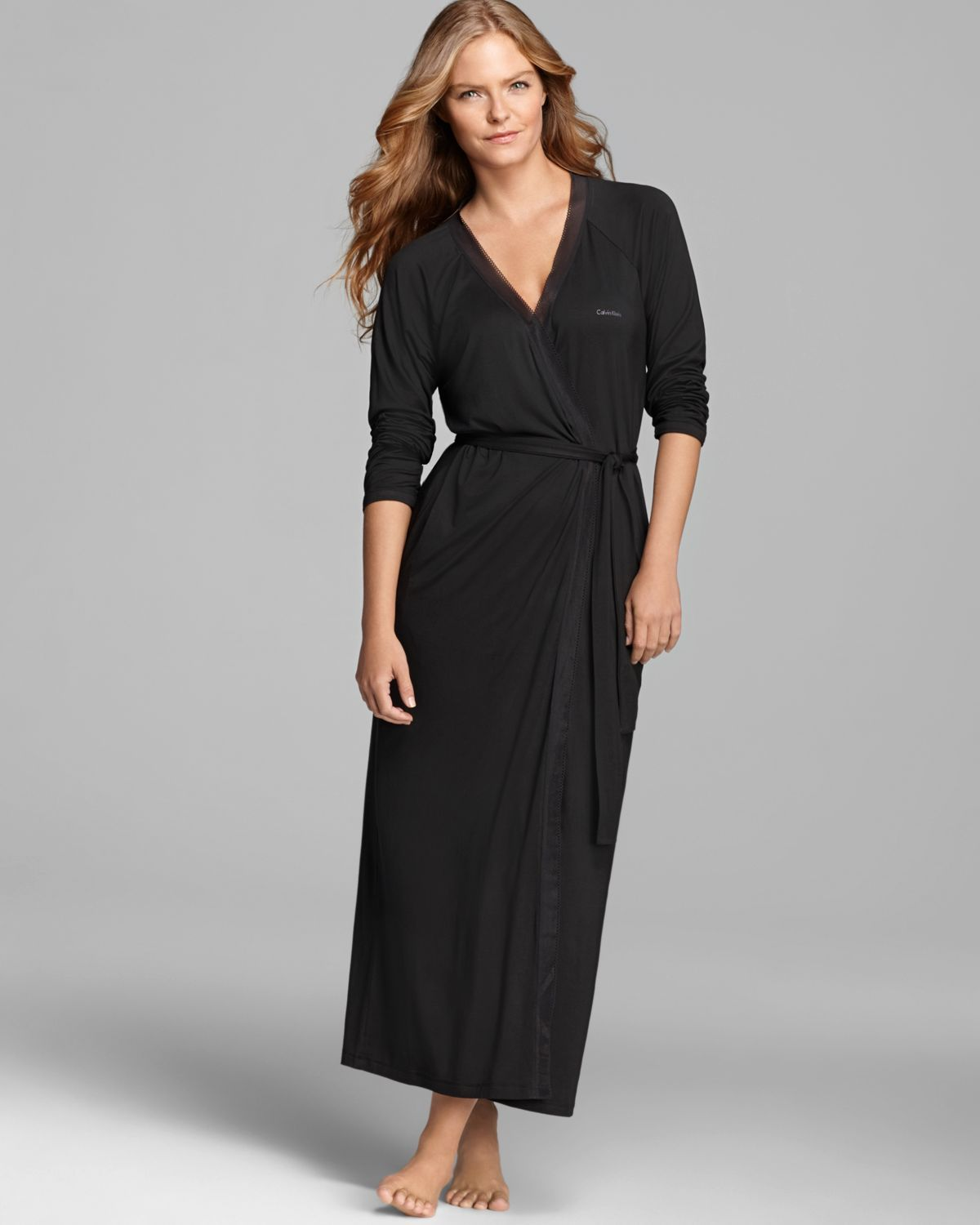 Calvin Klein Black Icon Long Robe With