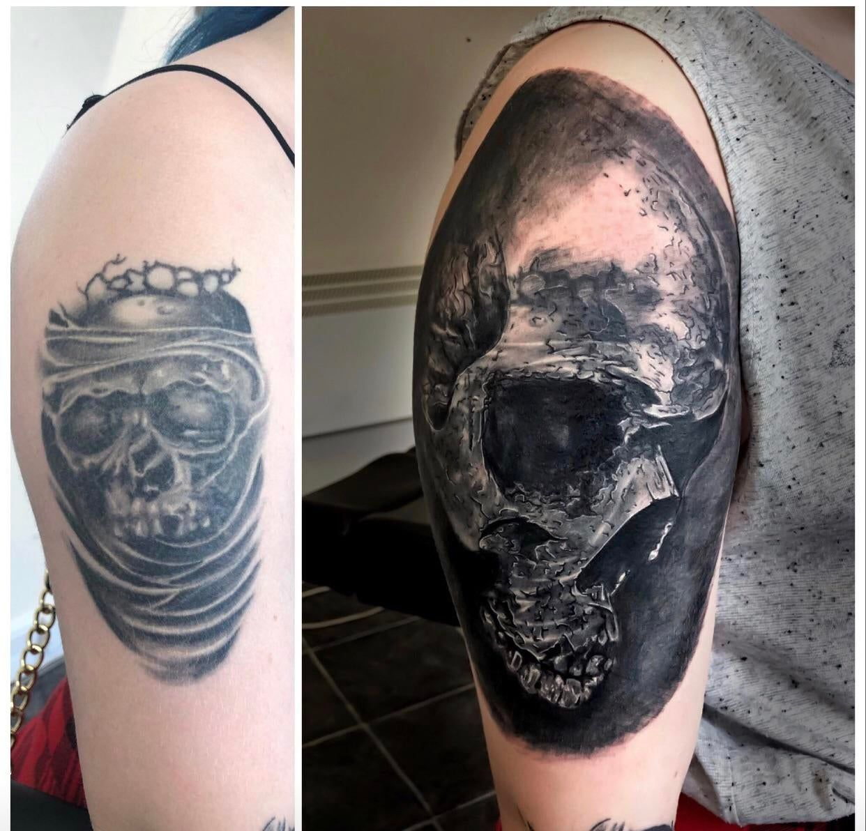 Before and after cover up london ink tattoo in devon