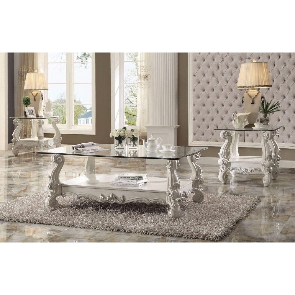 Best Kingly Coffee Table Bone White Clear Glass Benzara 3 640 x 480