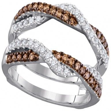 14kt White Gold With Champagne And White Round Diamonds Ring Guard Engagement Wedding Ring Enhancer (0.51ct. tw)...(40498220).! Price: $989.99 #14kt #gold #diamonds #ringguard #wrap #enhancer #fashion #jewelry #love #gift