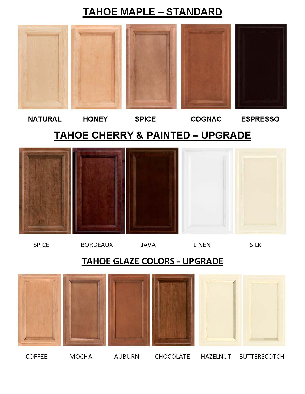 TAHOE Cabinet Colors: Tahoe Maple Cabinet Colors Are The Standard For  Windsong Properties. This