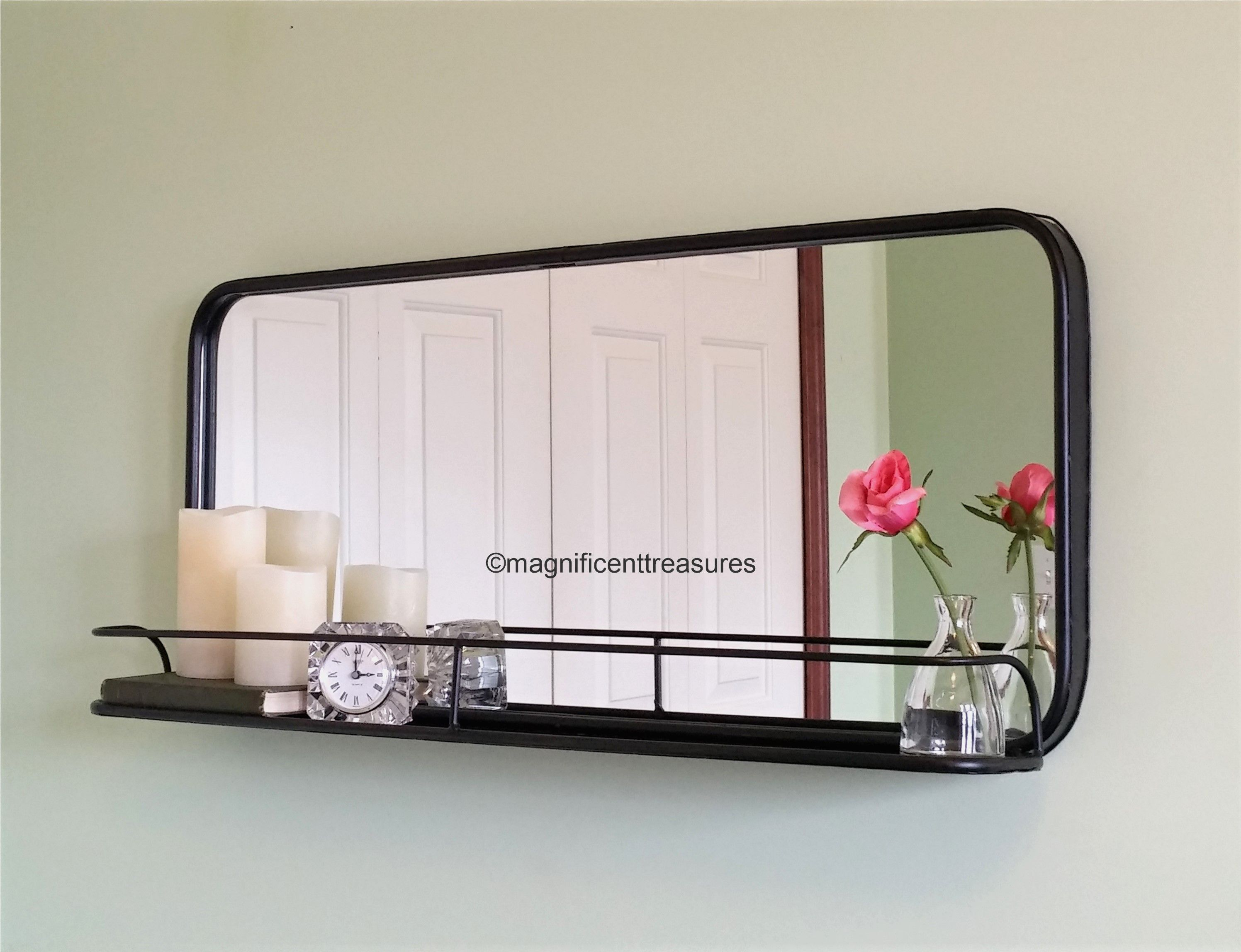 Metal Framed Phararmacy-Style Wall Mirror With Shelf
