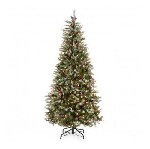 Artificial Christmas Tree Slim 6 5 Ft Pre Lit W Snow Lights Berries Pine Cones Pre Lit Christmas Tree Pine Christmas Tree Cool Christmas Trees