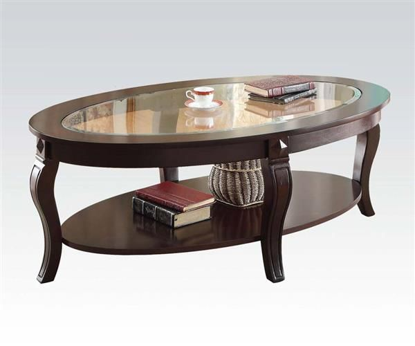 Riley Walnut Gl Wood Coffee Table W