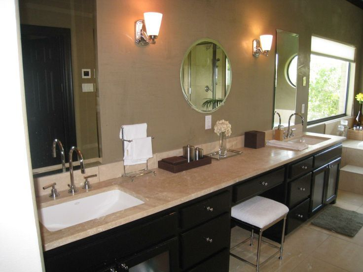 Double Bowl Vanity With Makeup Area Google Search Double Vanity Bathroom Double Sink Vanity Bathroom With Makeup Vanity