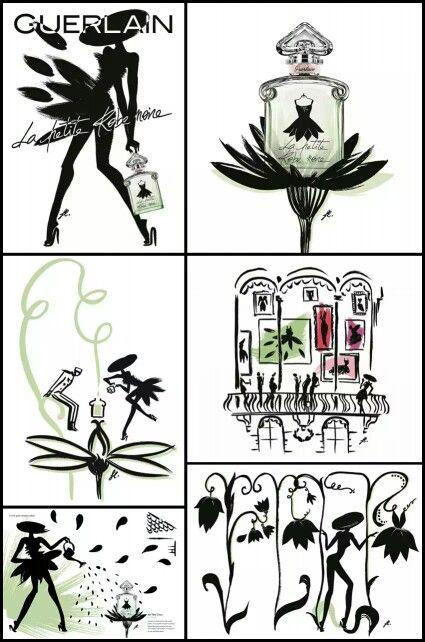 Les différentes publicités de la petite robe noire pétale de Guerlain
