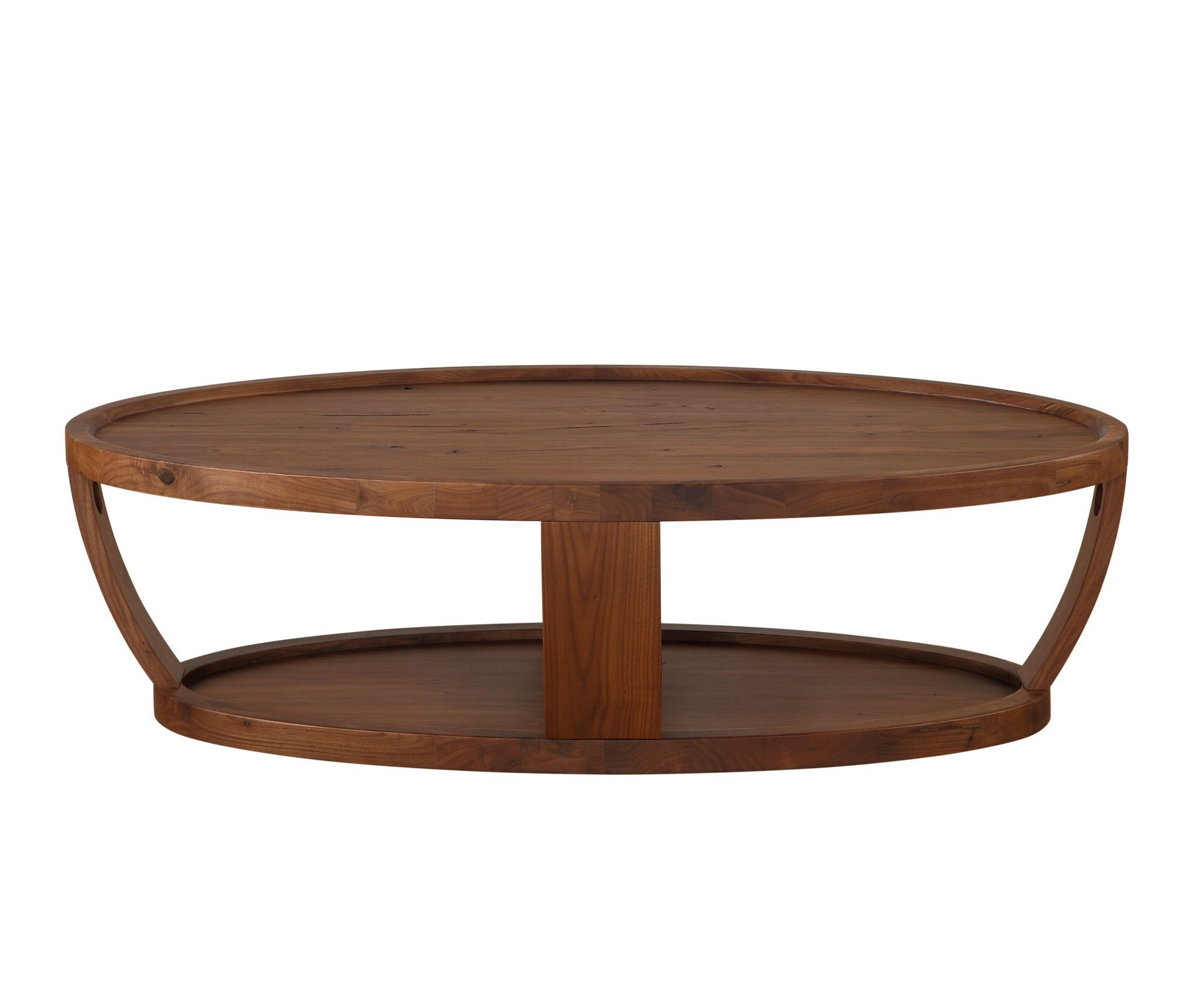 Dylan Oval Coffee Table Rustic Walnut Solid American Wood