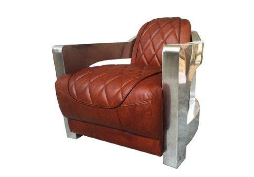 Vintage Aviator Diamond Leather Club Chair
