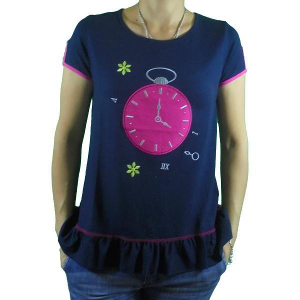Camiseta  mujer volante reloj
