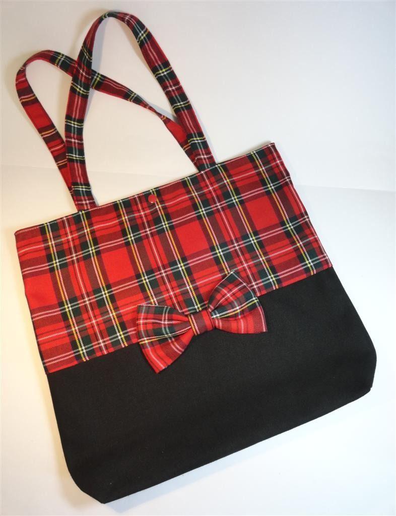 Noire Main Bag En Par Tissu Écossais Et Toile Tote RougeSacs À 1lKTJFc