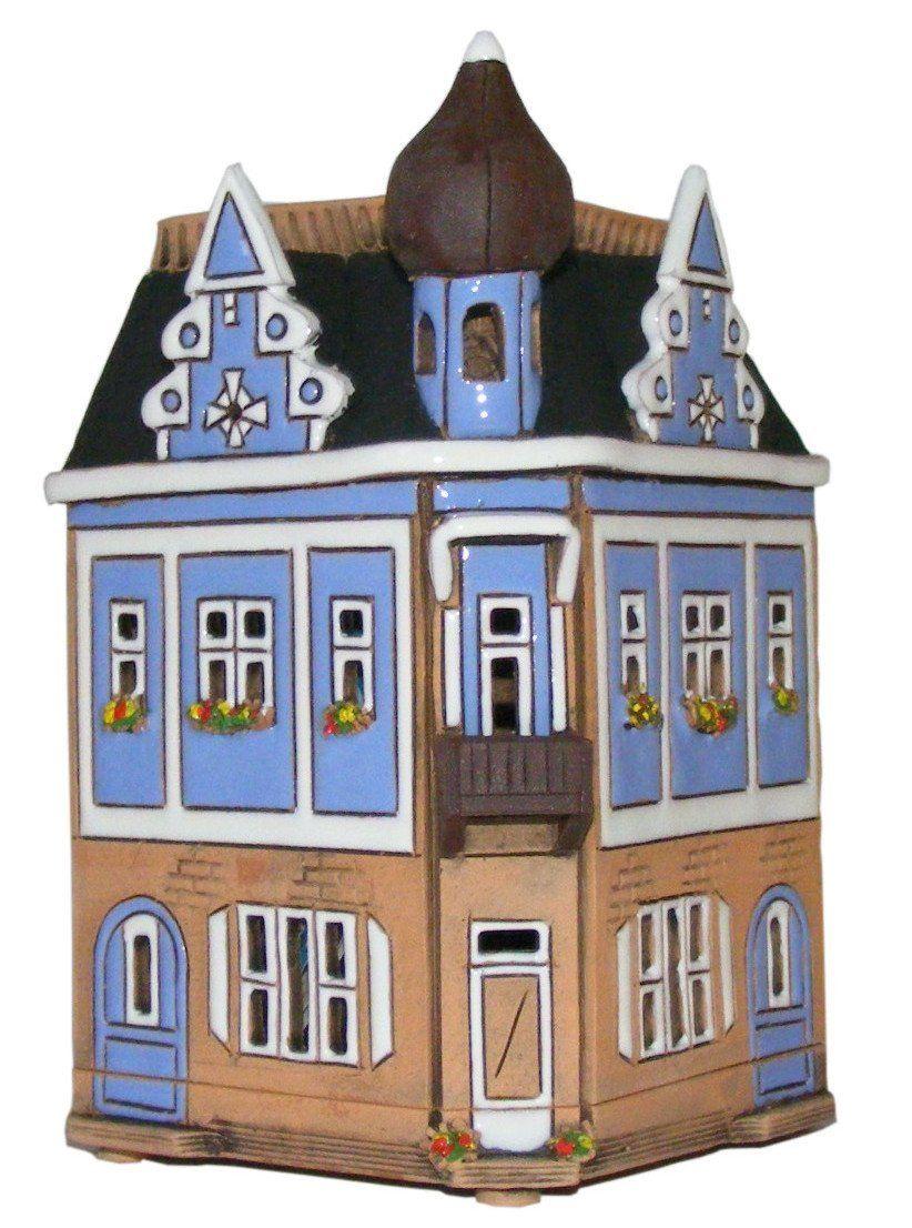 kastel keramik haus deko haus eckhaus lichthaus handarbeit amazonde kche - Tpferei Scheune Kleine Wohnzimmer Ideen