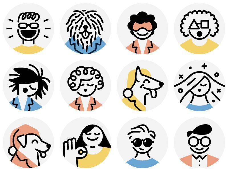 Casper / avatars Made some avatars for Casper's mattress reviews page. Art direction by Emily Long. #interfacedesign