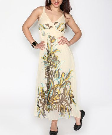 Another great find on #zulily! Off-White Floral Surplice Maxi Dress #zulilyfinds