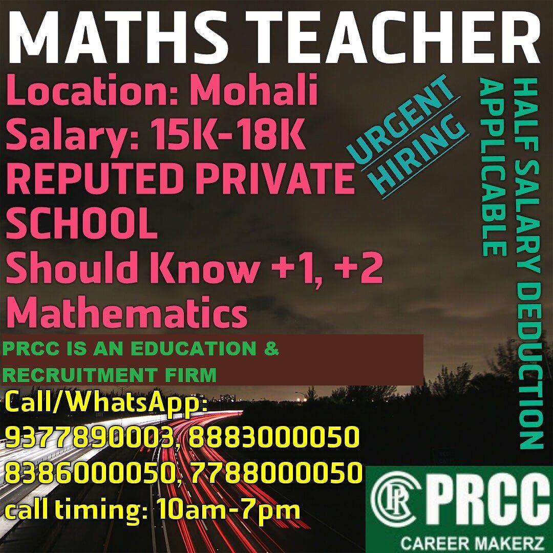 Follow Us Walkin Interviews Prcc Building Plot 249 Krishna Enclave Dhakoli Zirakpur Adjoining Cha With Images Good Communication Skills Career Opportunities Math Teacher