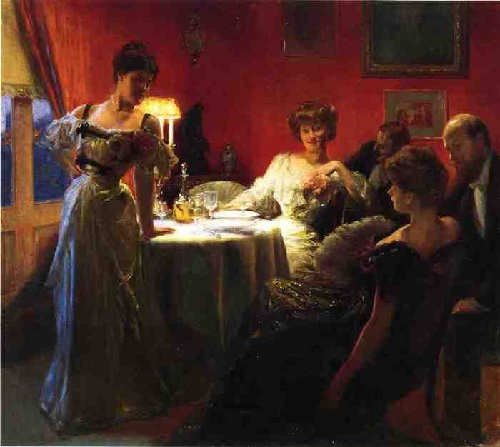 The Supper Party, 1903 by Julius Leblanc Stewart (American 1855-1919)