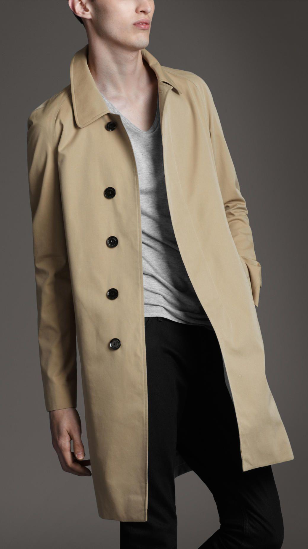 Burberry | Natural Cotton Gabardine Raglan Trench Coat for Men | Lyst