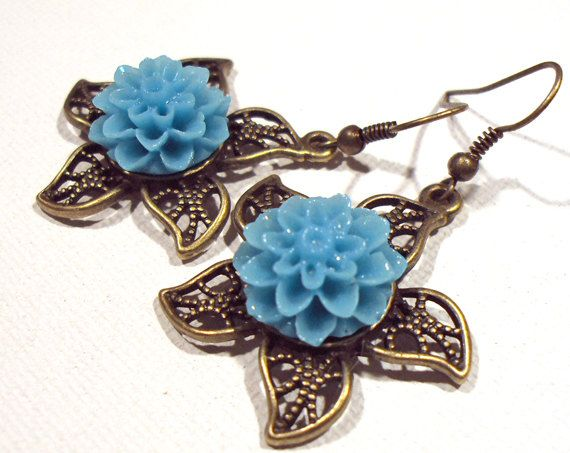 Jewelry,Earrings, Turquoise, Antique Brass, Aqua Floral, Twisted Star, Lucite FREE SHIPPING. $5.00, via Etsy.