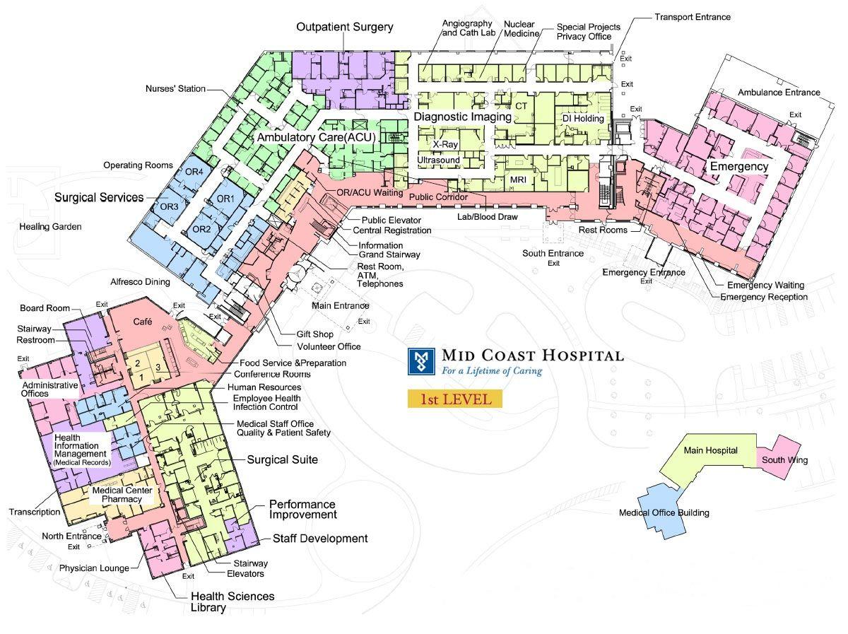Mid coast hospital floor plans level 1 hospital floor
