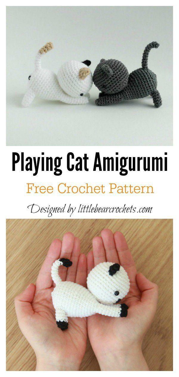 Playing Cat Amigurumi Free Crochet Pattern #coolcreativityfreepattern #crochetan...