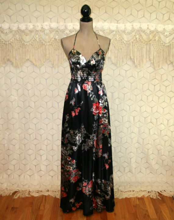 24988a69d1d 90s Satin Maxi Dress Long Black Floral Boho Dress Spaghetti Strap ...