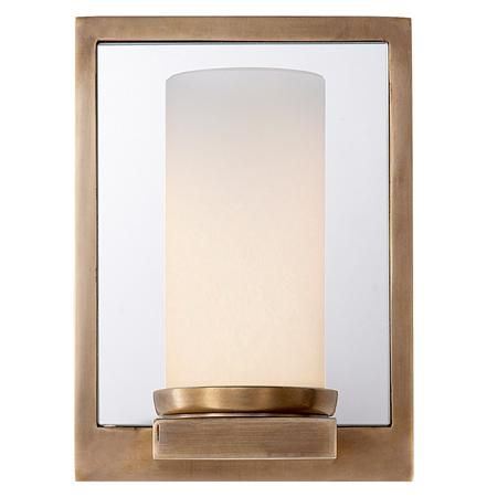 Urban Reflections Wall Sconce, Mirrored Wall Plate W/ Natural Brass Frame,  35W Halogen