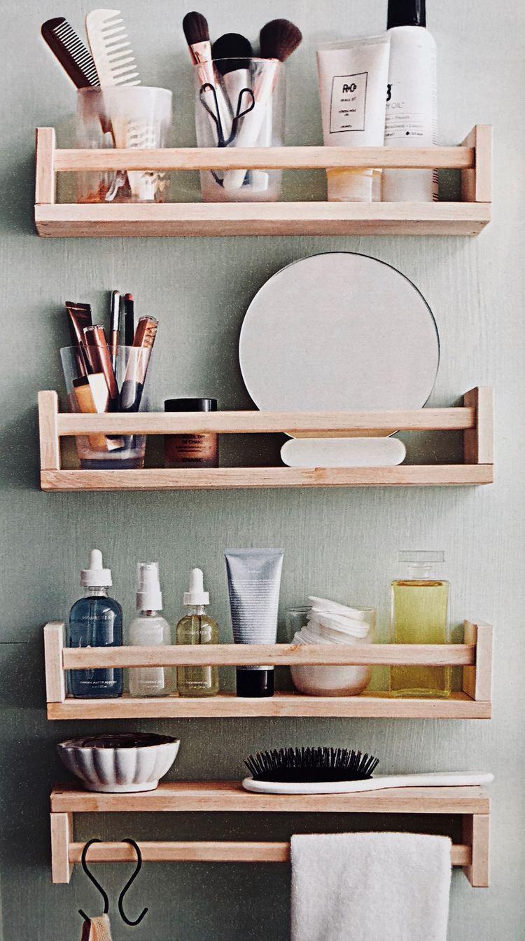 Makeup racks | Diy bathroom storage, Ikea spice rack, Shelf