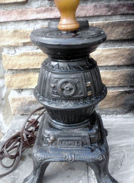 Vintage Pot Belly Stove Lamp Tabletop Desktop