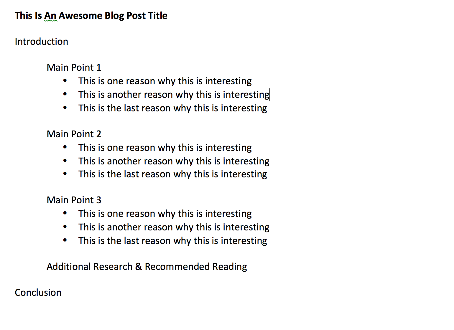 Example of a rough blog post outline  Blog post titles, Blog