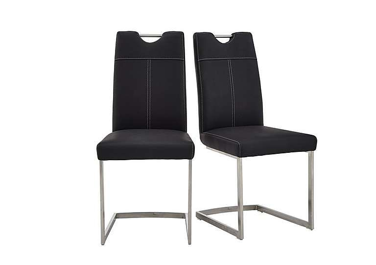 Beautiful Habufa Panama Pair Of Dining Chairs Striking Designer Style Brushed Steel  Cantilevered Bases Integral Handles ] Awesome Design