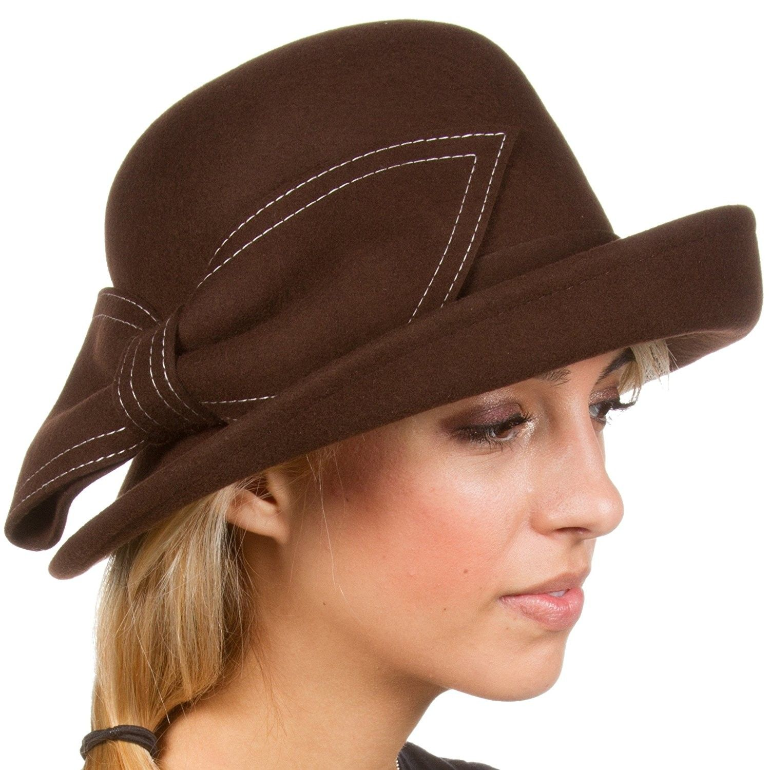 Bobbi Vintage Style Wool Cloche Bell Derby Hat - Chocolate - CF11HNV3KNZ -  Hats   Caps 797cabd48d96