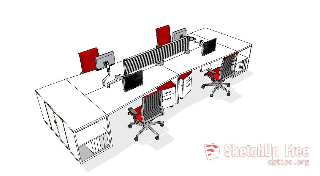 305 Office furniture Sketchup Model Free Download
