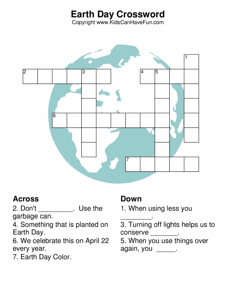 image relating to Earth Day Crossword Puzzle Printable identified as Environment Working day Crossword Puzzle planet working day Environment working day