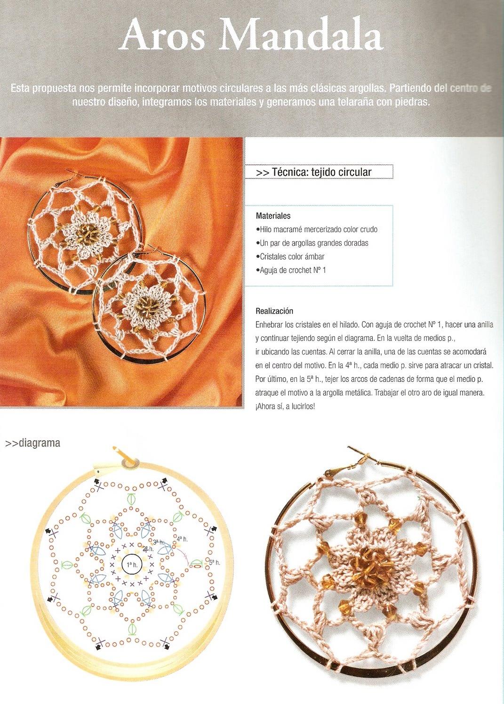 Patrones para Crochet: Pendientes Mandala de Crochet … | todo ...