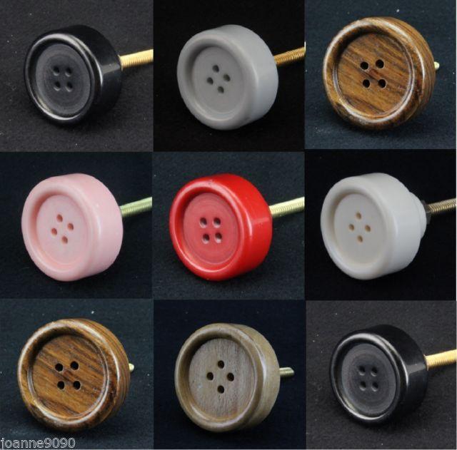 Gisela graham resin & wood button door knob pull / drawer handles ...