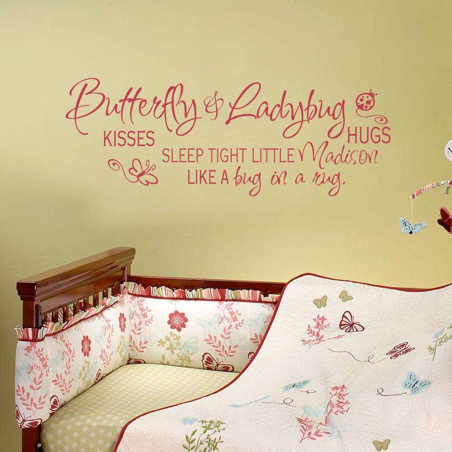 Butterfly Kisses Ladybug Hugs Nursery Name Decal - Baby Girl Nursery ...