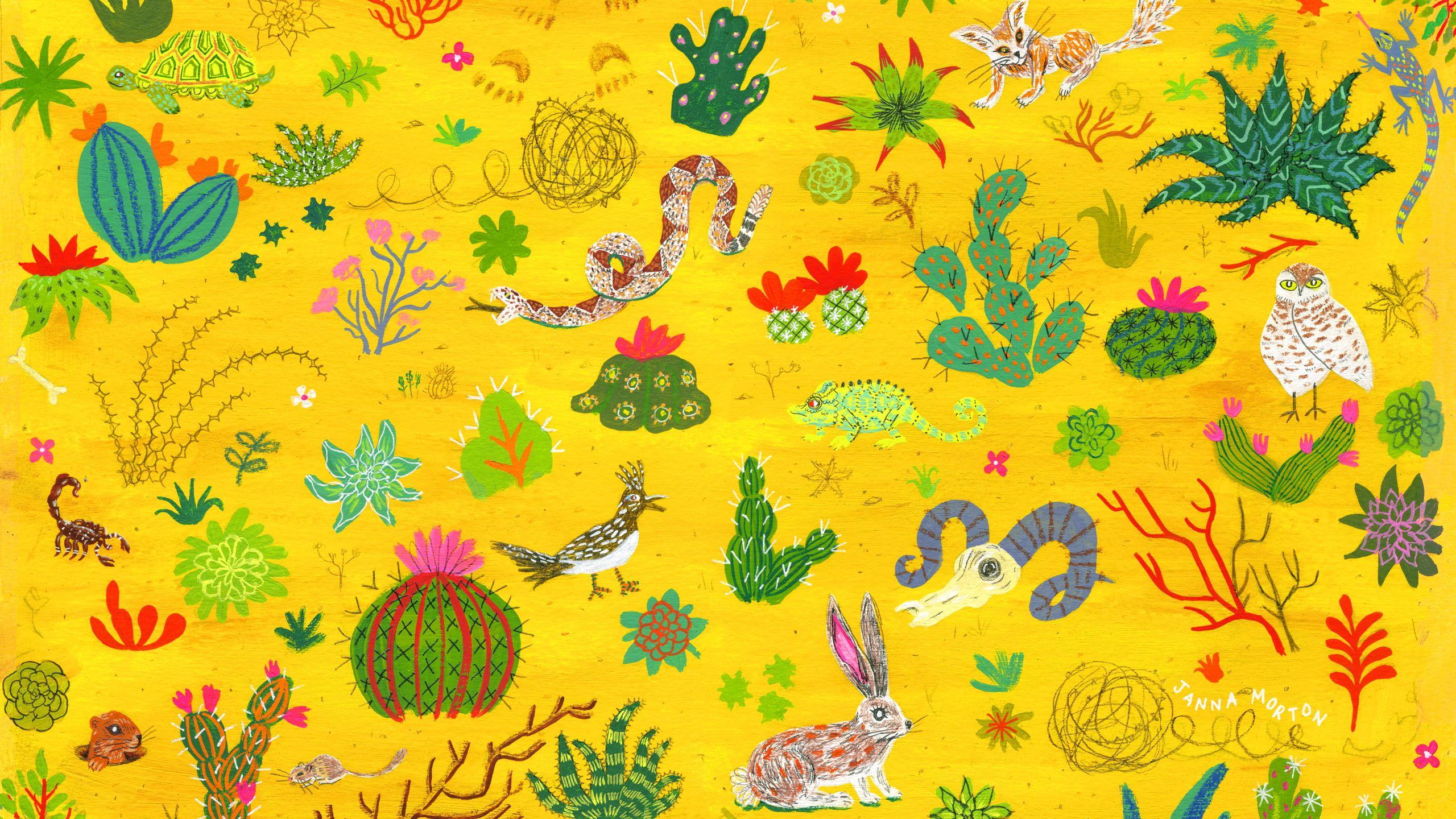 Cactus Snake 2k Wallpaper Hdwallpaper Desktop Aesthetic Wallpapers Wallpaper Project Computer Wallpaper
