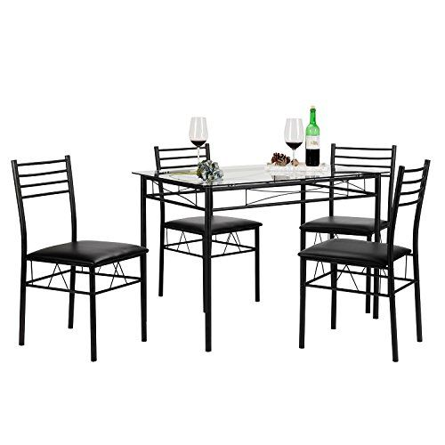 VECELO Dining Table with 4 Chairs Black VECELO drrao Pinterest