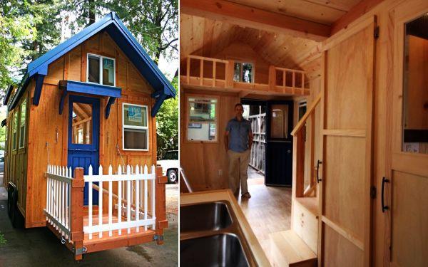 Tiny House On Wheels Two Lofts eco-friendly tiny wooden home on wheels has all necessary