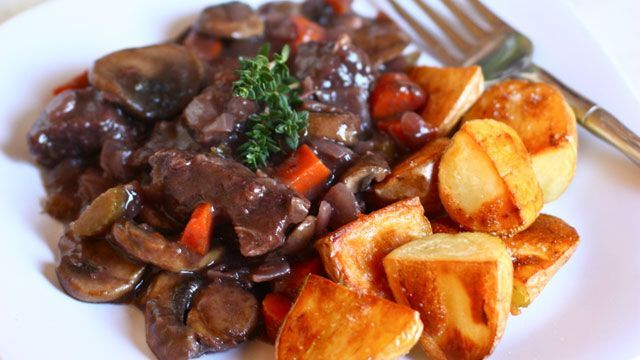 Beef Bourguignon Recipe with Roasted Potatoes -