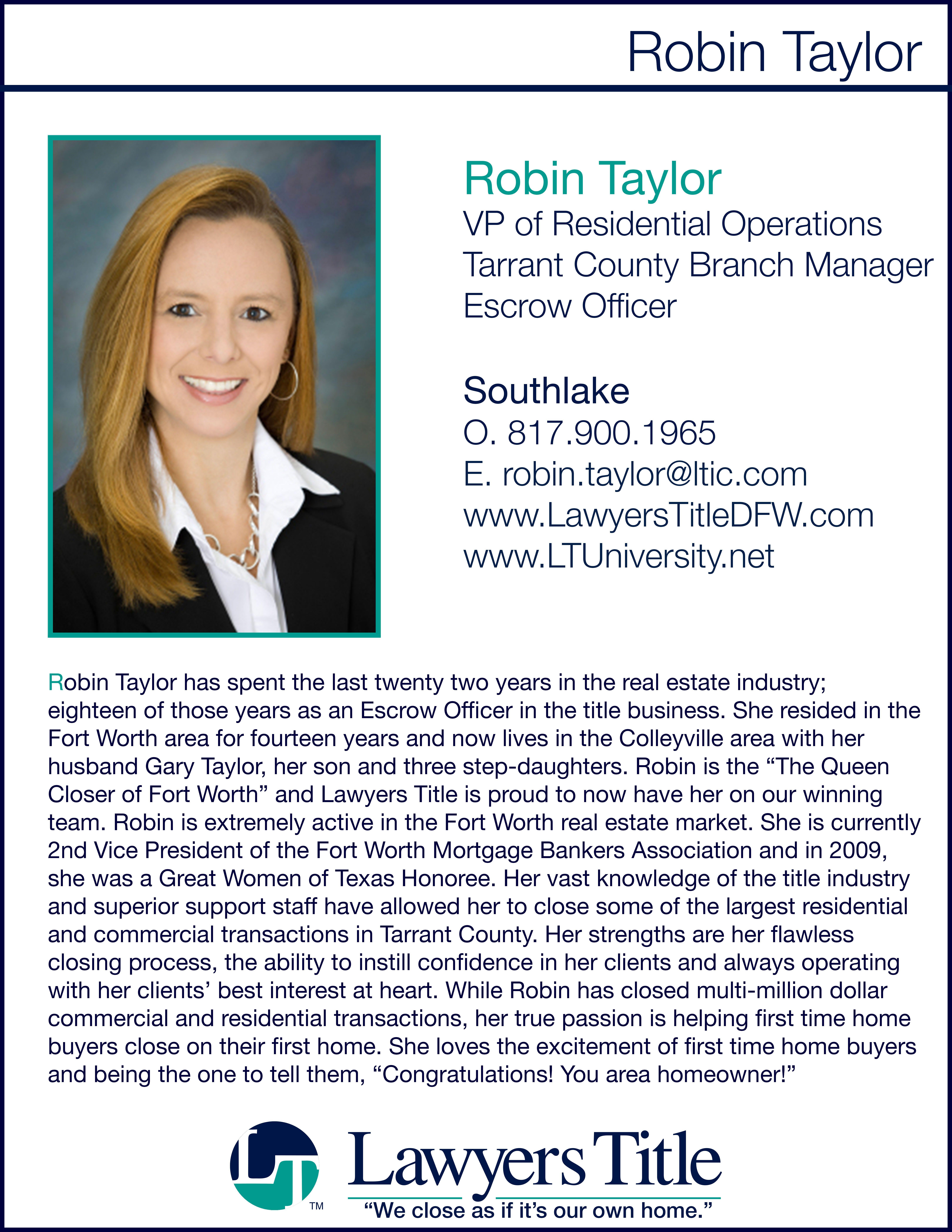 Bio Card Robin Taylor Jpg 6477 8382 Title Insurance Dfw Real