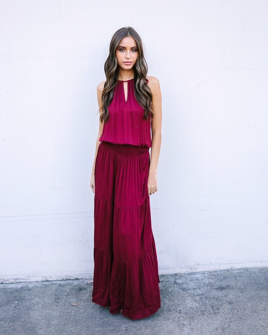 Marvel in merlot smocked maxi dress final sale wedding party