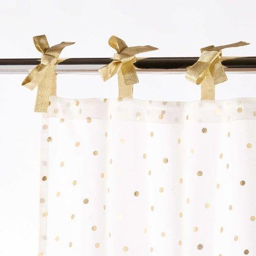 Rideau à nouettes en coton blanc à pois dorés 102x250cm BIRD SONG ...