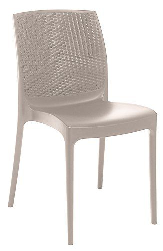 Stackable Patio Dining Chair - Beige - 4 Piece Set - Heavy ...