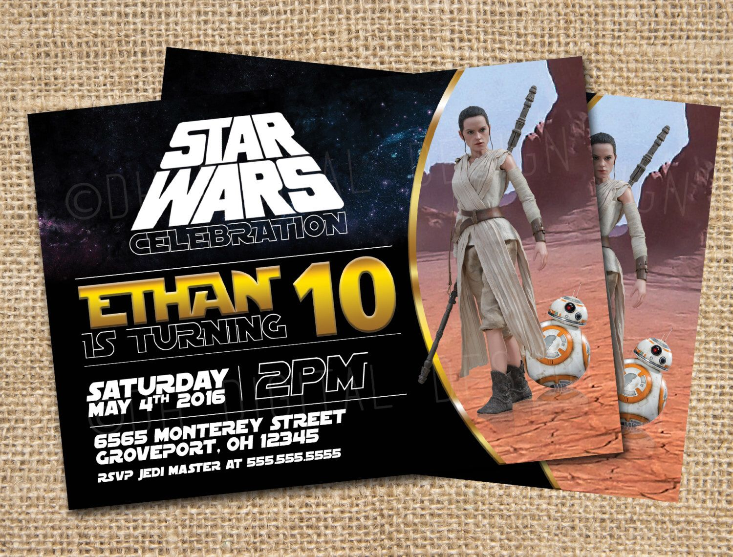 Rey Star Wars Birthday Invitation BB8