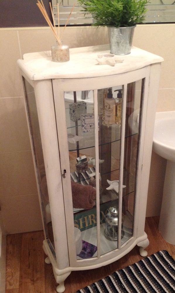 Vintage Shabby Chic Display Cabinet Painted In Old White By Annie Sloan