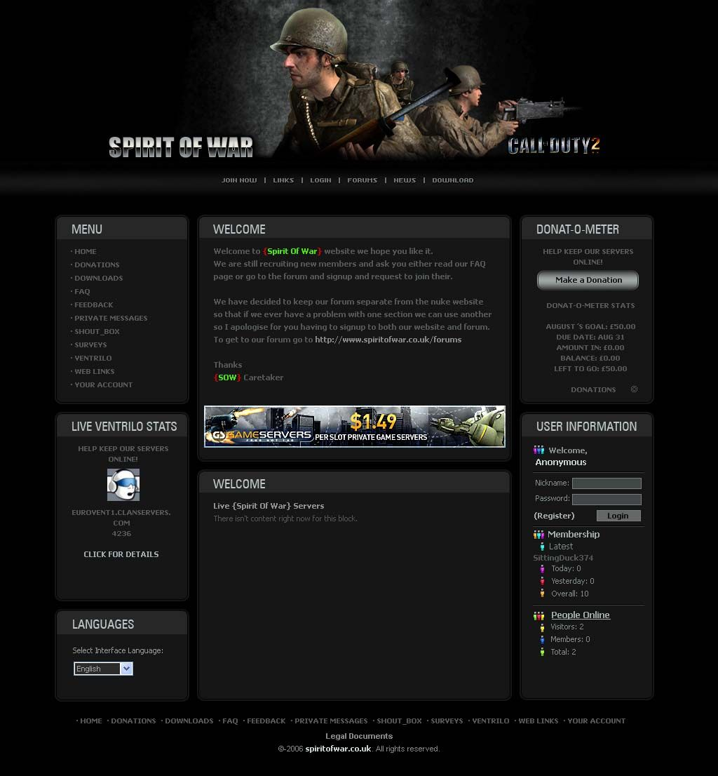 Closed Website template for a call of duty 2 clan #website ...